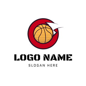 Red Circle and Yellow Basketball logo design