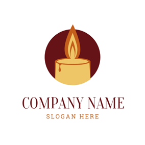 Red Circle and Yellow Candle logo design