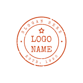 Red Circle Postmark logo design