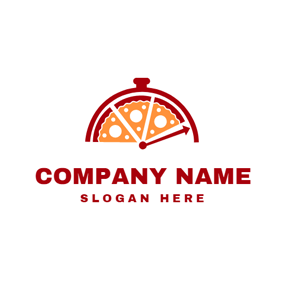 Red Clock and Pizza logo design