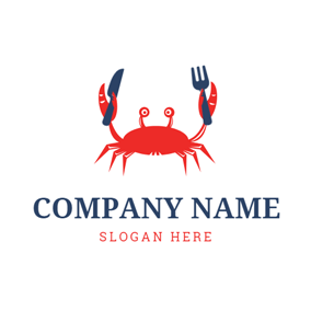 Red Crab Holding Knife and Fork logo design