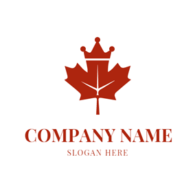 Red Crown and Maple Leaf logo design