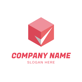 Red Cube and Check Symbol logo design