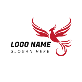 Red Curve and Flying Phoenix logo design