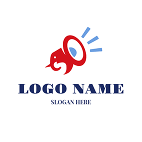 Red Elephant and Loudspeaker logo design