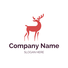 Red Elk and Christmas logo design