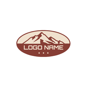 Red Ellipse and Mountain logo design