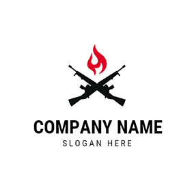Red Fire and Black Gun logo design