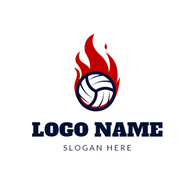 Red Fire and Volleyball logo design