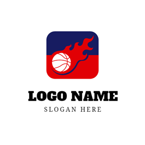 Red Fire and White Basketball logo design