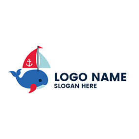 Red Flag and Blue Whale logo design