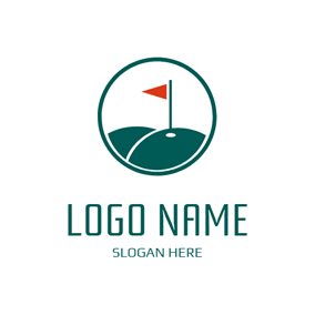 Red Flag and Green Golf Course logo design