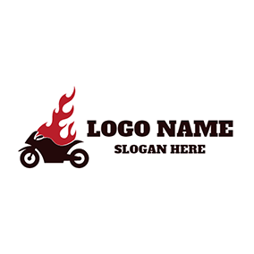 Red Flame and Black Motorcycle logo design