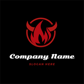 Red Flame and Ox Horn logo design