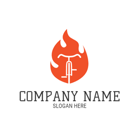 Red Flame and White Simple Bicycle logo design