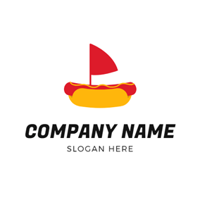 Red Flg and Hot Dog logo design