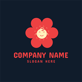 Red Flower and Lovely Baby logo design