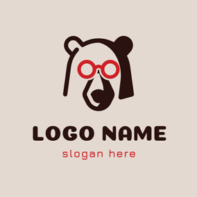 Red Glasses and Black Bear logo design