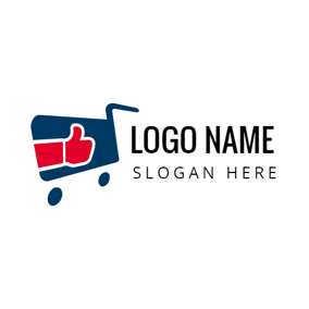 Red Hand and Blue Shopping Trolley logo design