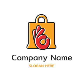 Red Hand and Yellow Bag logo design