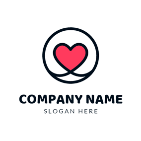 Red Heart and Black Circle logo design