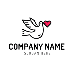 Red Heart and Black Flying Dove logo design