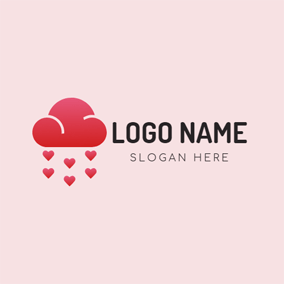 Red Heart and Cloud logo design