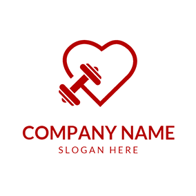 Red Heart and Dumbbell logo design