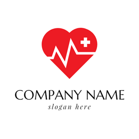 Red Heart and Electrocardiogram logo design