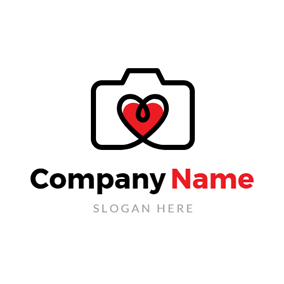Red Heart and Flat Camera logo design