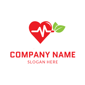 Red Heart and Green Leaf logo design