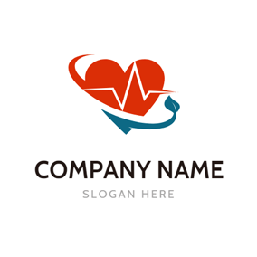 Red Heart and Health Care logo design