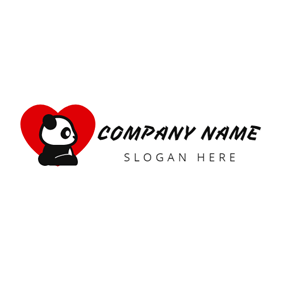 Red Heart and Likable Panda logo design