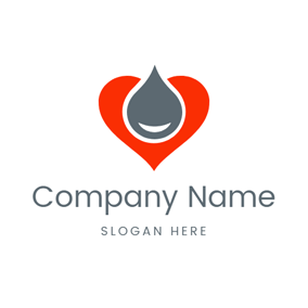 Red Heart and Water Drop logo design