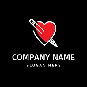 Red Heart and White Paintbrush logo design