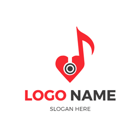 Red Heart Circle and Note logo design