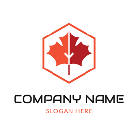 Red Hexagon and Maple Leaf logo design