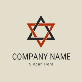 Red Hexagram and Triangle logo design