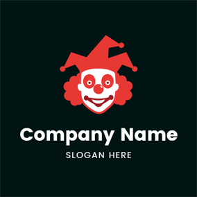 Red Joker Hat and Face logo design