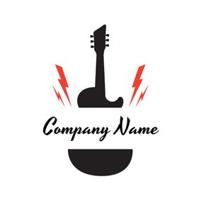 Red Lightening and Black Guitar logo design