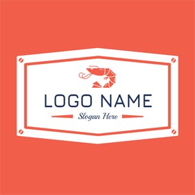 Red Lobster and White Badge logo design