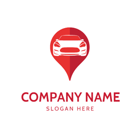Red Location and Motor Vehicle logo design