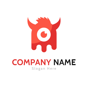 Red Monster Head Icon logo design