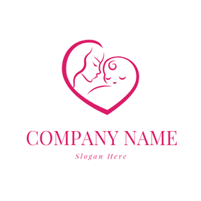Red Mother and Baby logo design