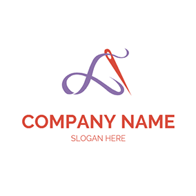 Red Needle and Purple Thread logo design