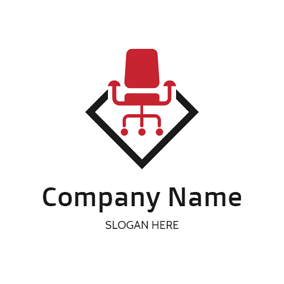 Red Office Chair and Work logo design