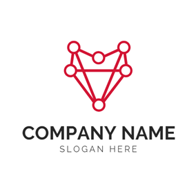 Red Polygon and Blockchain logo design