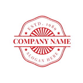 Red Polygon Stripe Stamp Postmark logo design