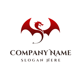 Red Roaring Dragon logo design