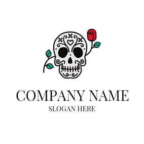 Red Rose and Black Skull logo design